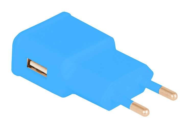 CHARGEUR SECTEUR 1 X USB 1A BLEU 0