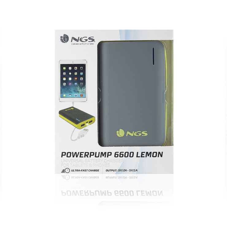 CHARGEUR POWERPUMP POUR TABLETTE 6600MAH GRIS/JAUNE powerpump6600lemon-3