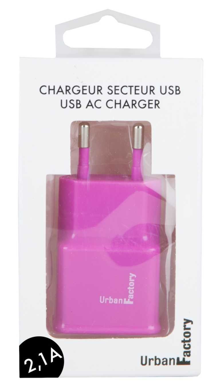 CHARGEUR SECTEUR 1 X USB 2.1A ROSE wcd21uf-2