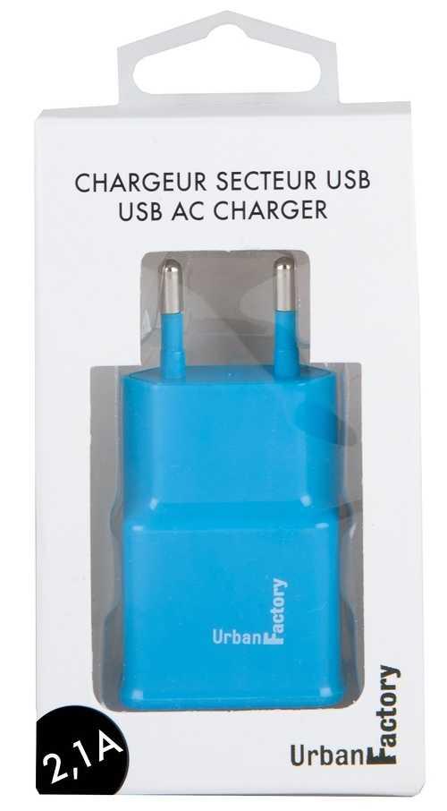 CHARGEUR SECTEUR 1 X USB 2.1A BLEU wcd22uf-2