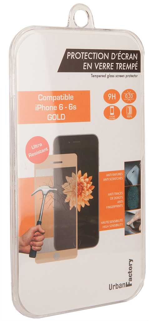 FILM DE PROTECTION ECRAN VERRE TREMPE POUR IPHONE 6 / 6S CONTOUR GOLD tgp22uf-2