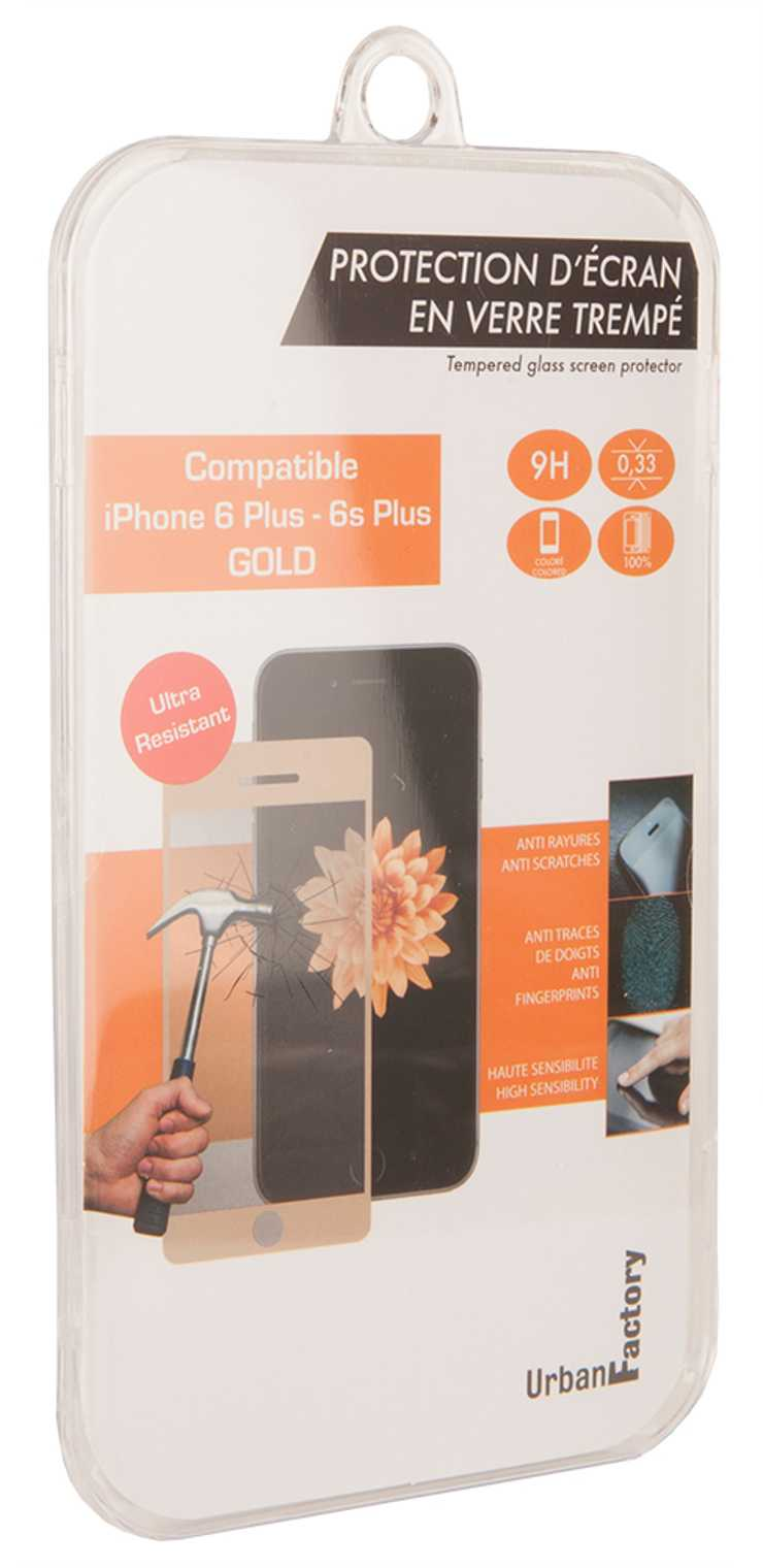 FILM DE PROTECTION ECRAN VERRE TREMPE POUR IPHONE 6 / 6S+ GOLD tgp32uf-2