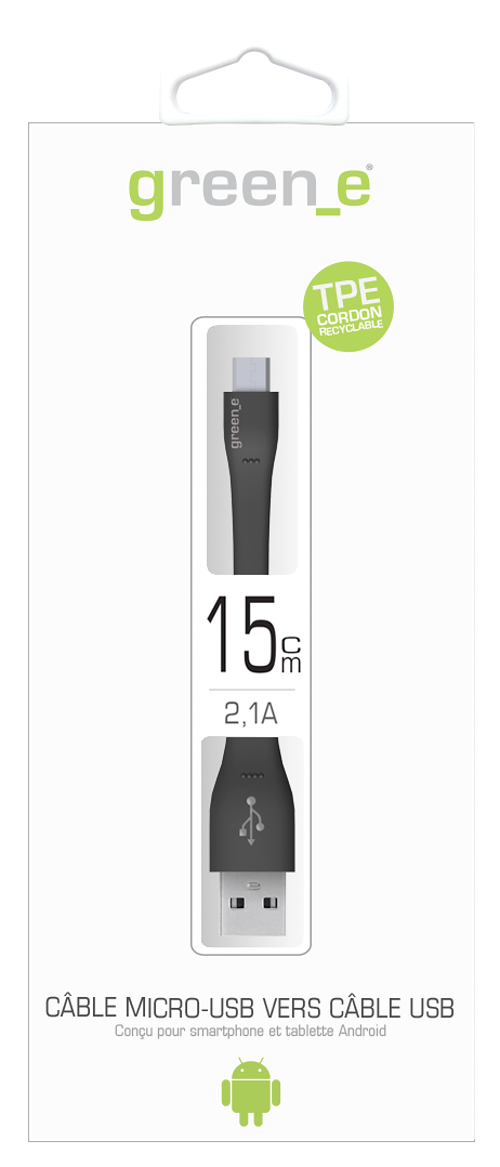 CORDON MICRO USB TPE XS 2,1A NOIR 15 CM gr1004-packinghd