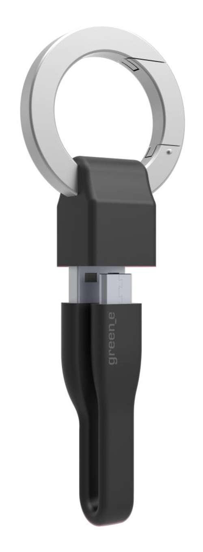 PORTE-CLES CORDON MICRO USB 2,1A - CABLE TPE NOIR 10 CM gr1014-3