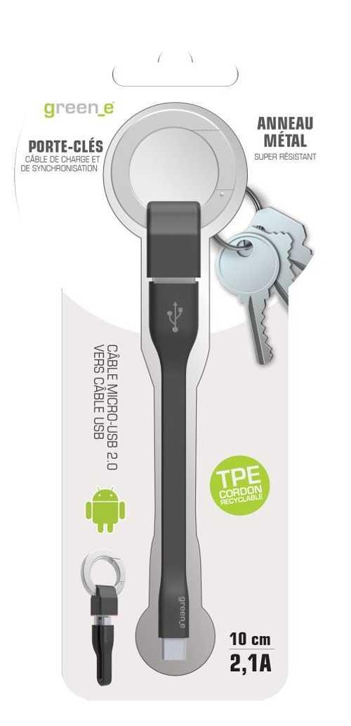 PORTE-CLES CORDON MICRO USB 2,1A - CABLE TPE NOIR 10 CM gr1014-4