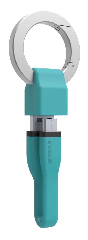 PORTE-CLES CORDON MICRO USB 2,1A - CABLE TPE BLEU 10 CM gr1012-3