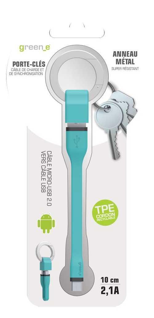 PORTE-CLES CORDON MICRO USB 2,1A - CABLE TPE BLEU 10 CM gr1012-4
