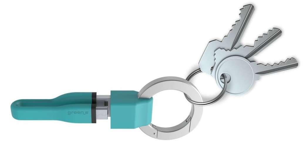 PORTE-CLES CORDON MICRO USB 2,1A - CABLE TPE BLEU 10 CM 0
