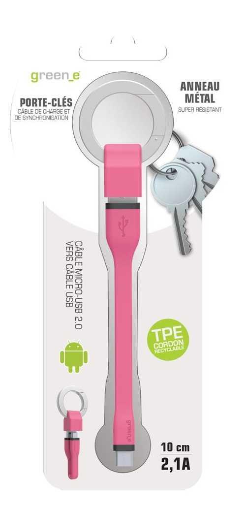PORTE-CLES CORDON MICRO USB 2,1A - CABLE TPE ROSE 10 CM gr1013-