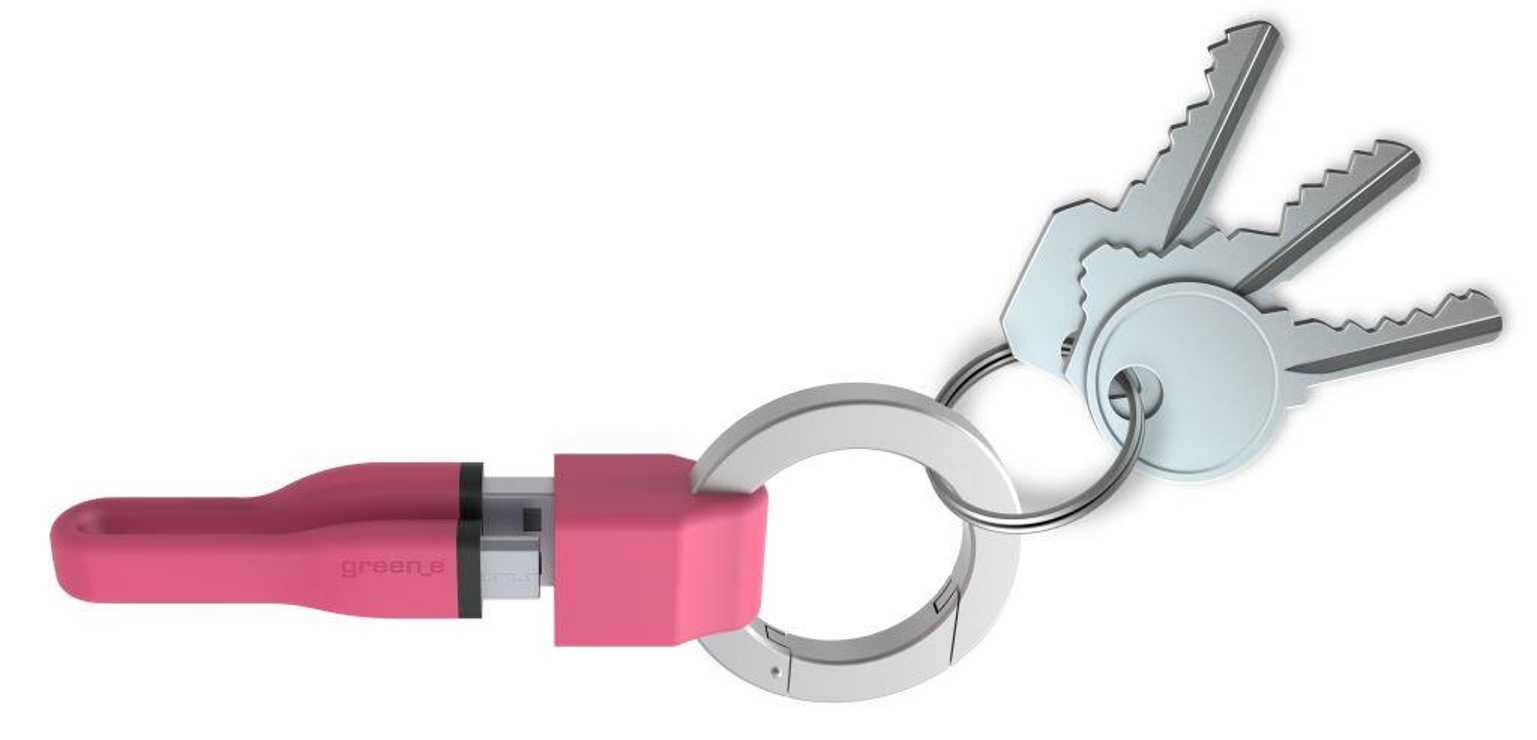 PORTE-CLES CORDON MICRO USB 2,1A - CABLE TPE ROSE 10 CM 0