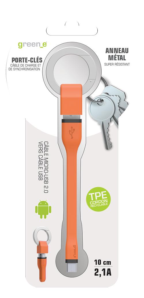 PORTE-CLES CORDON MICRO USB 2,1A - CABLE TPE ORANGE 10 CM gr1015