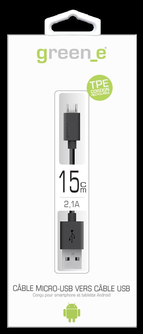 CORDON MICRO USB TPE 2,1A NOIR 90 CM gr1005