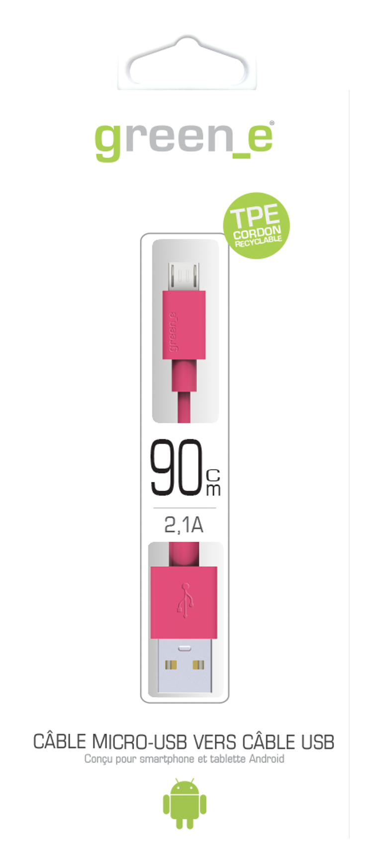 CORDON MICRO USB TPE 2,1A ROSE 90 CM gr1007-packinghd