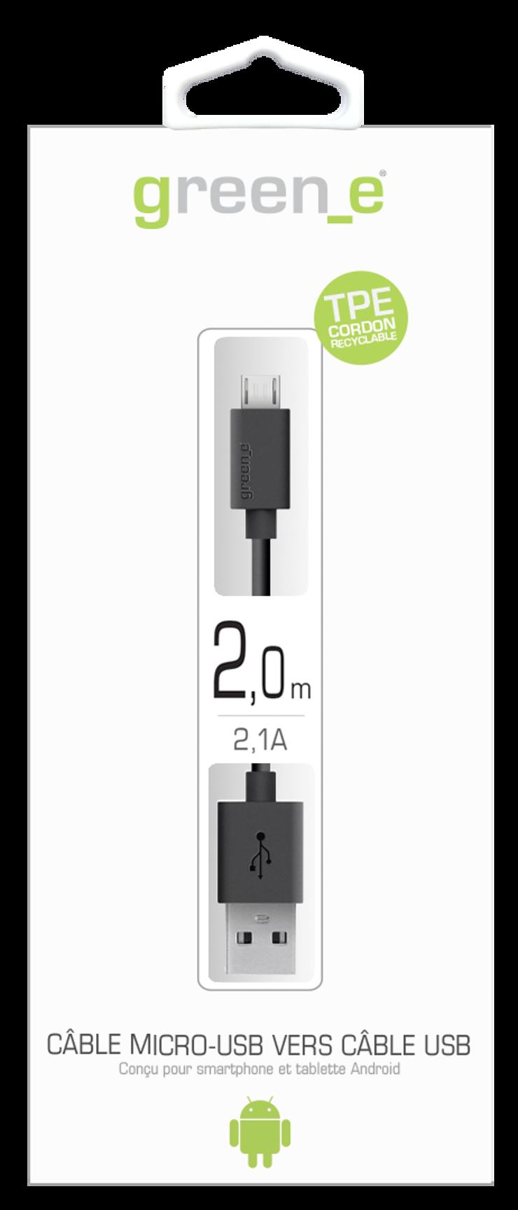 CORDON MICRO USB TPE 2,1A NOIR 2M gr10082-2