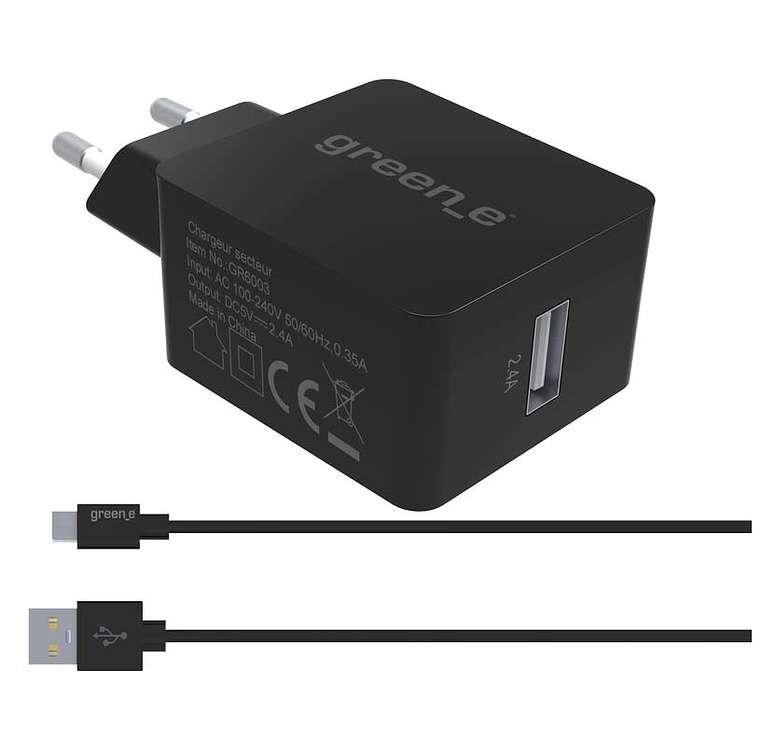 KIT CHARGEUR SECTEUR TURBO 1 X 2.4A + CORDON MICRO USB + HOUSSE DE TRANSPORT 0