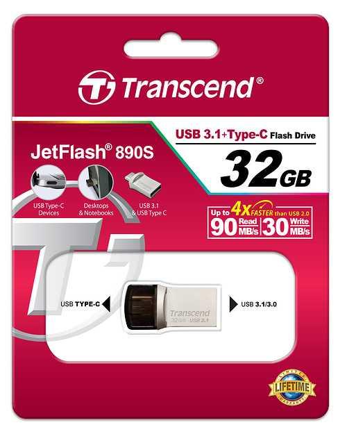 CLE USB 32GO SERIE 890 SILVER USB 3.1 TYPE C ts32gjf890s-5
