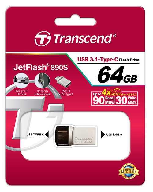CLE USB 64GO SERIE 890 SILVER USB 3.1 TYPE C ts64gjf890s
