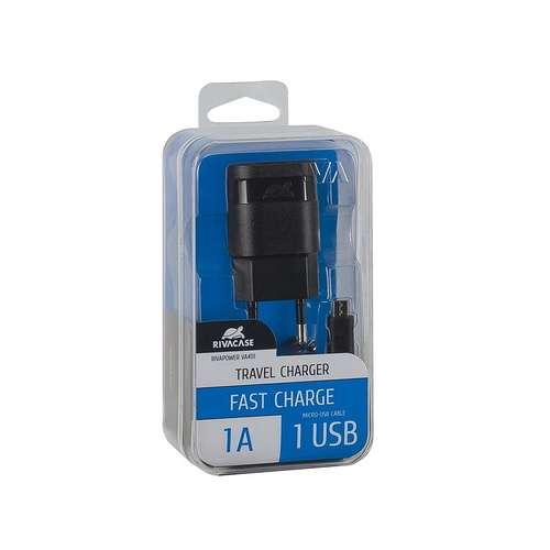 CHARGEUR SECTEUR UNIVERSEL 1 X USB 1A NOIR + CORDON MICRO USB 1M va4111bd1-2