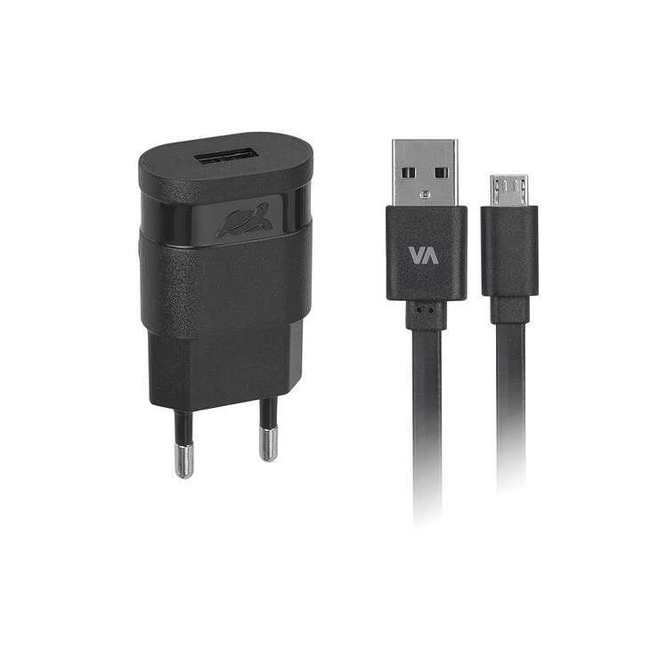 CHARGEUR SECTEUR UNIVERSEL 1 X USB 1A NOIR + CORDON MICRO USB 1M 0