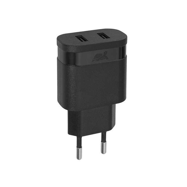 CHARGEUR SECTEUR UNIVERSEL 2 X USB 2.4A NOIR 0
