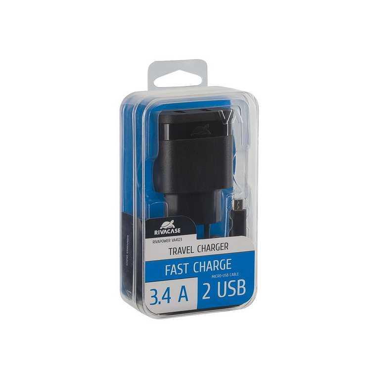 CHARGEUR SECTEUR UNIVERSEL 2 X USB 3.4A NOIR va4123bd1-2