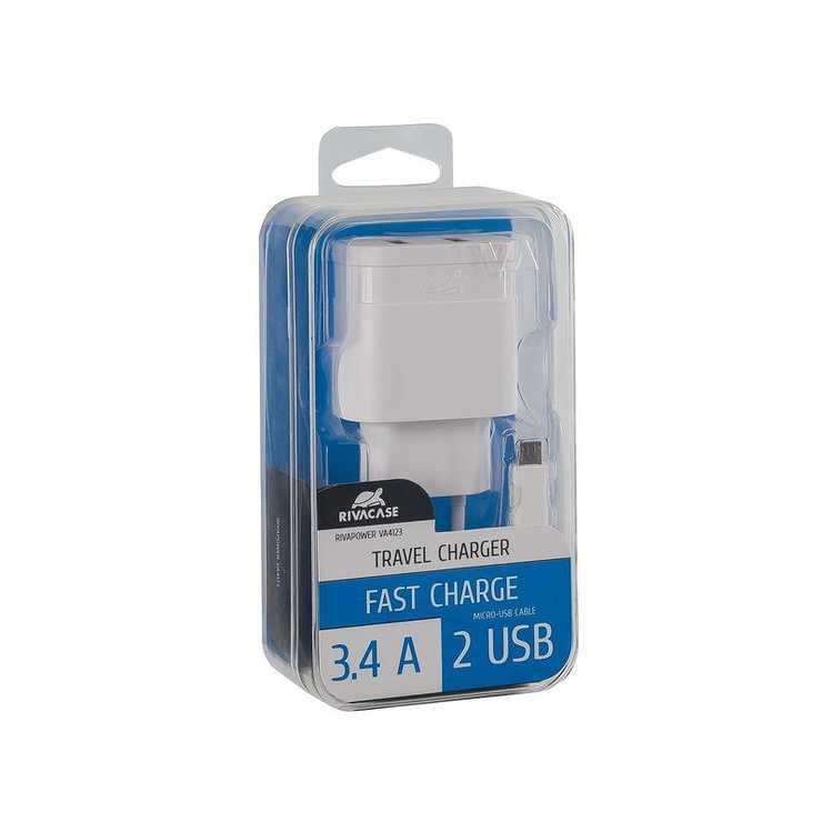 CHARGEUR SECTEUR UNIVERSEL 2 X USB 3.4A BLANC va4123wd1-2