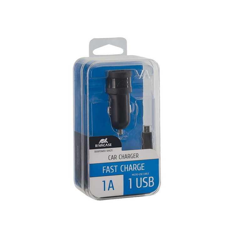 CHARGEUR VOITURE 1 X USB 1A NOIR + CORDON MICRO USB va4211bd1-2
