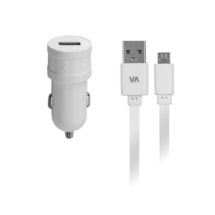 CHARGEUR VOITURE 1 X USB 1A BLANC + CORDON MICRO USB 0