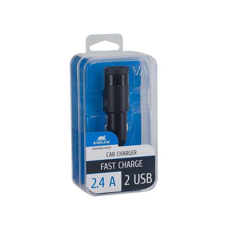 CHARGEUR VOITURE 2 X USB 2.4A NOIR va4222b00-2