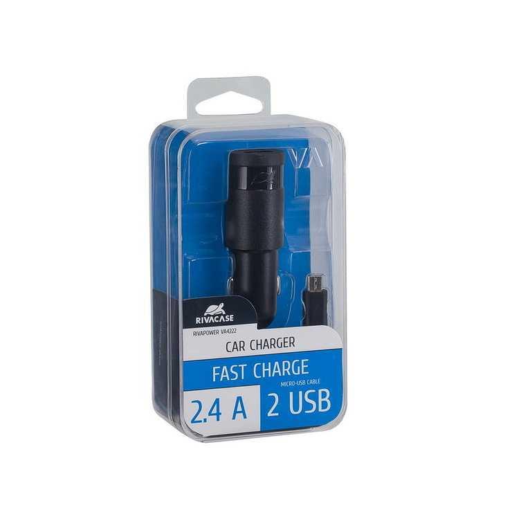 CHARGEUR VOITURE 2 X USB 2.4A NOIR+CORDON MICRO USB va4222bd1-2
