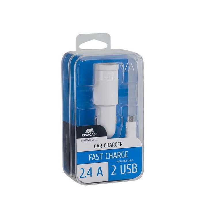 CHARGEUR VOITURE 2 X USB 2.4A BLANC +CORDON MICRO USB va4222wd1-2