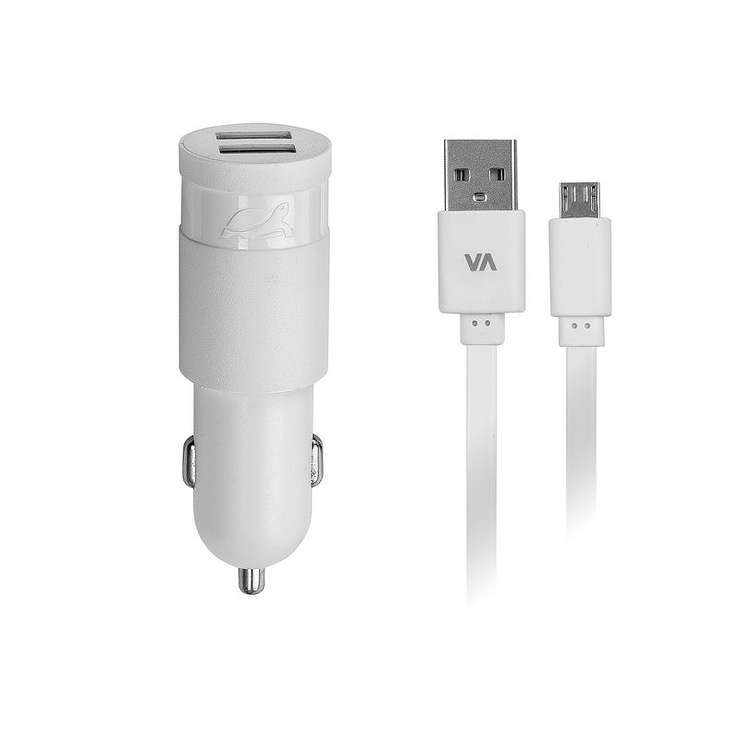 CHARGEUR VOITURE 2 X USB 2.4A BLANC +CORDON MICRO USB 0