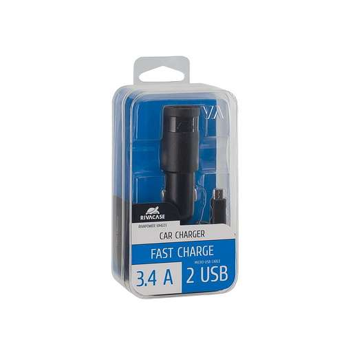 CHARGEUR VOITURE 2 X USB 3.4A NOIR +CORDON MICRO USB va4223bd1-2