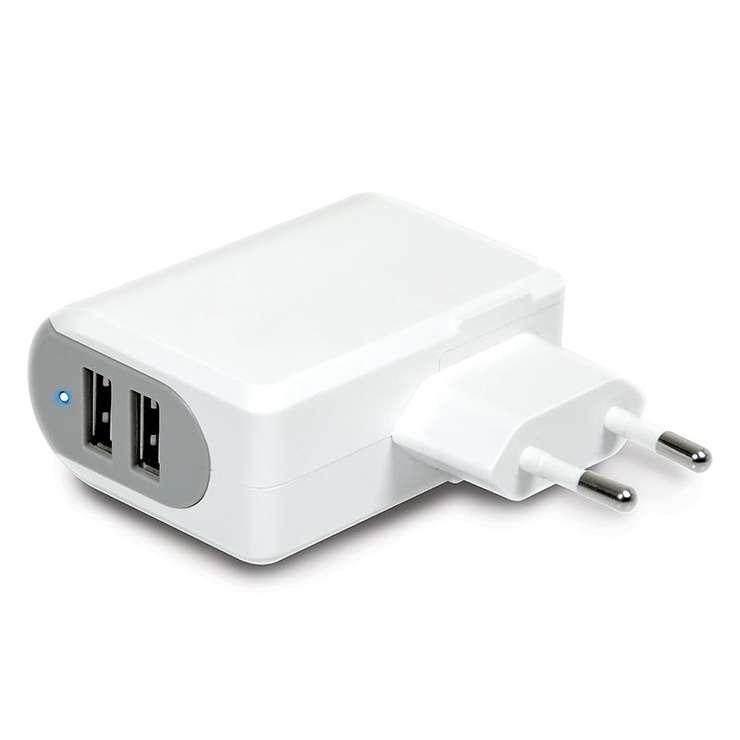 CHARGEUR SECTEUR 2 X USB 3.4A + MICRO USB / LIGHTNING BLANC 900019-2