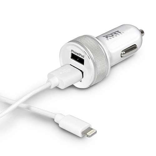 CHARGEUR VOITURE 2 X USB 3.4A+CORDON LIGHTNING BLANC 0