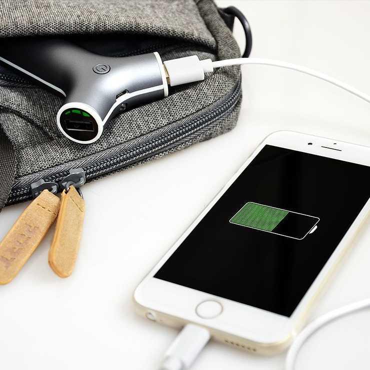 CHARGEUR VOITURE 2 X USB AVEC POWERBANK 2200MAH GRIS 202077-3