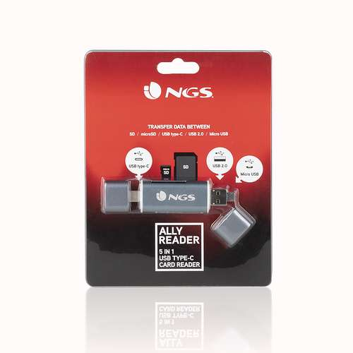 LECTEUR DE CARTE 5 EN 1 TYPE C / USB / MICRO USB / SD ET MICRO SD ngslectortypec5en1allyreadernewpack011