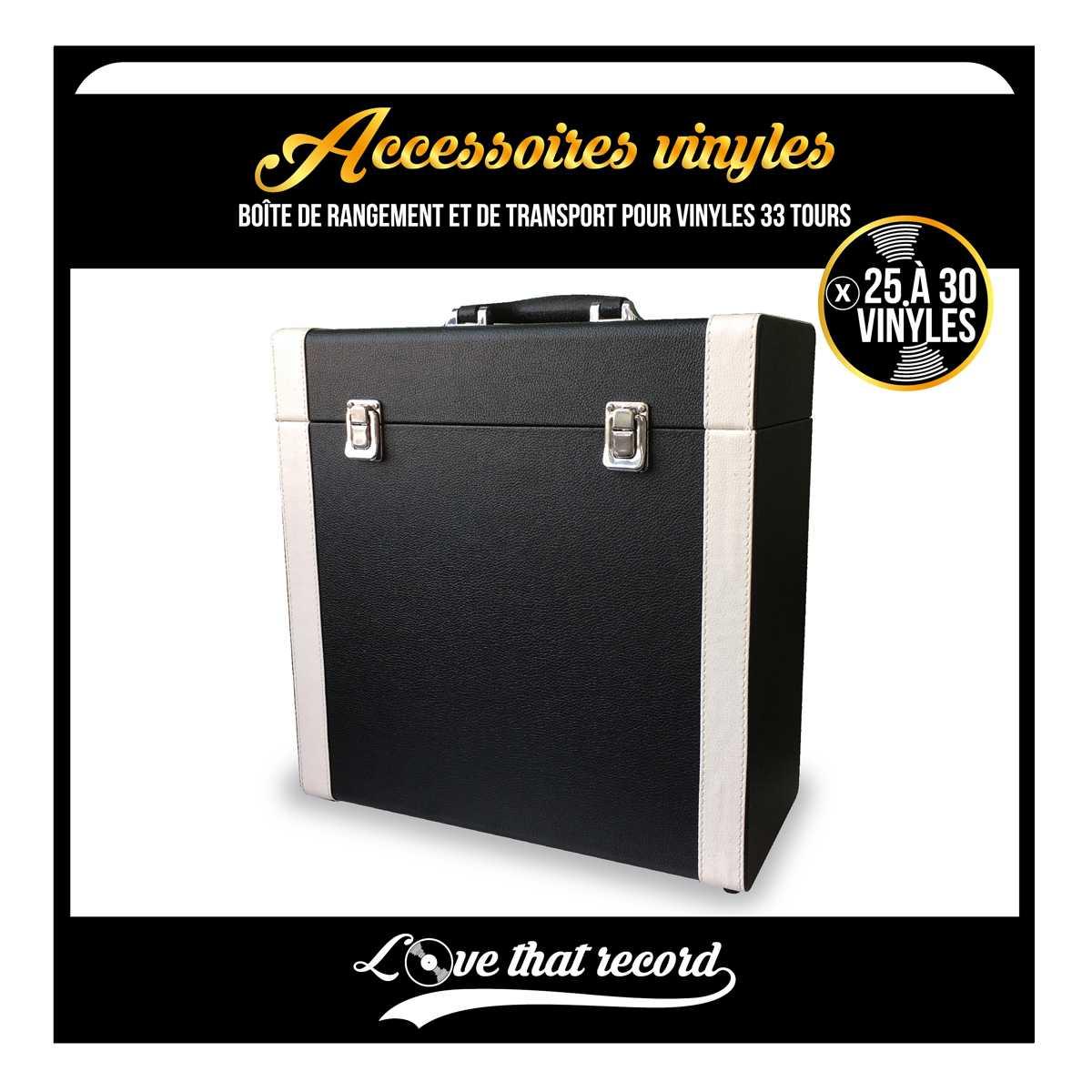 boite de rangement retro noir emplacement pour 25 a 30 vinyles noriak. Black Bedroom Furniture Sets. Home Design Ideas