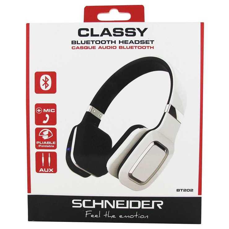 CASQUE AUDIO BLUETOOTH 4.0 EDR BT202 PLIABLE BLANC 3028pahd