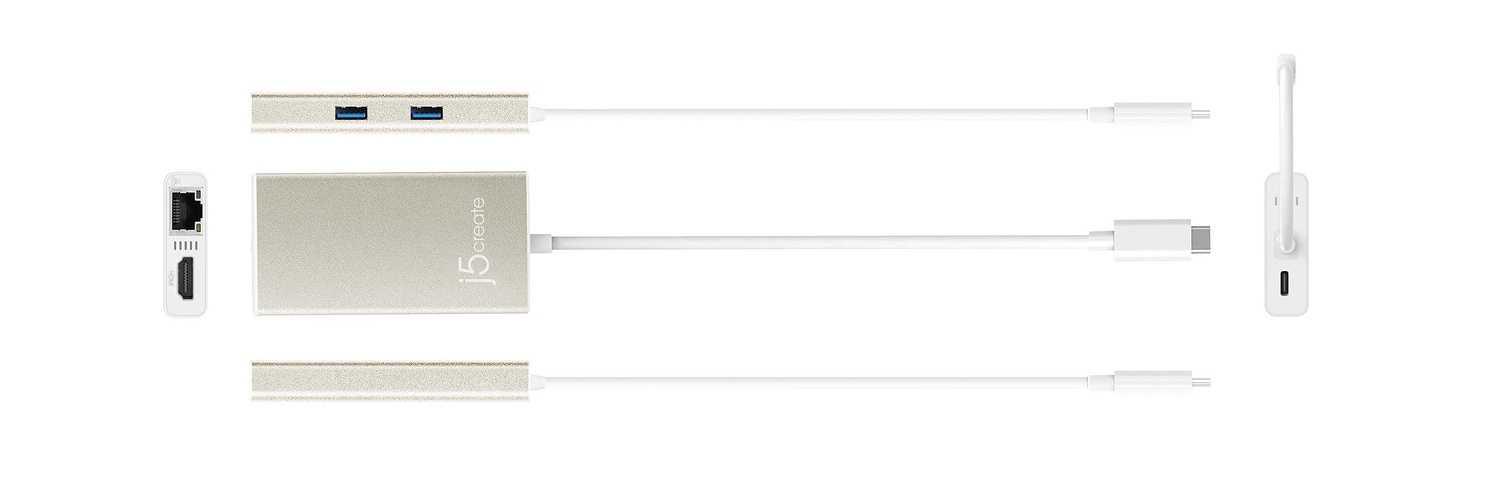 STATION D''ACCUEIL MULTIPORT USB TYPE C VERS HDMI-RJ45-USB3.1 X 2 AUTO ALIMENTE jca374-all