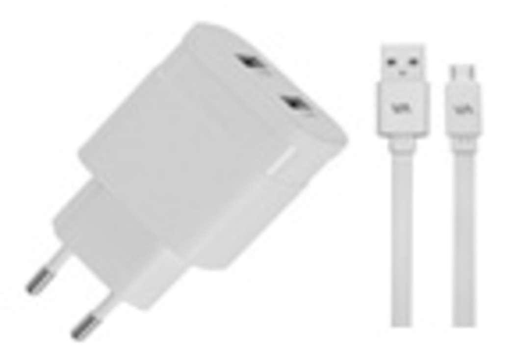CHARGEUR SECTEUR 2 X USB 3.4A BLANC + CORDON LIGHTNING MFI 0