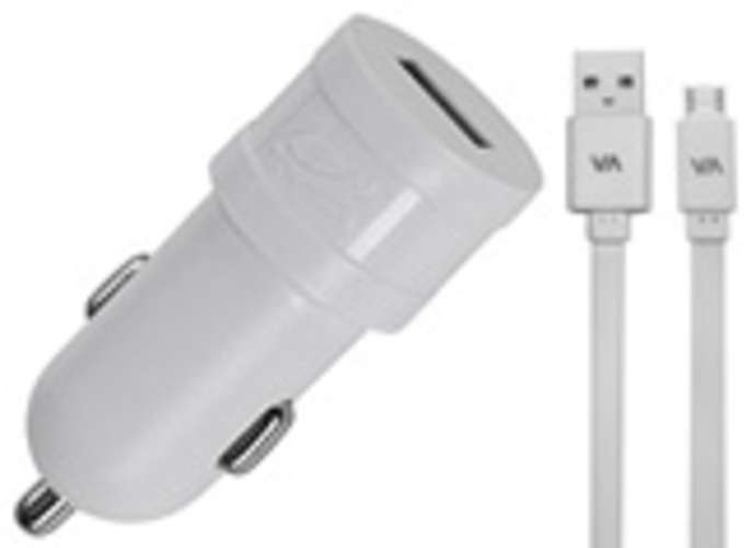CHARGEUR VOITURE  1 X USB 1A BLANC + CORDON LIGHTNING MFI 0