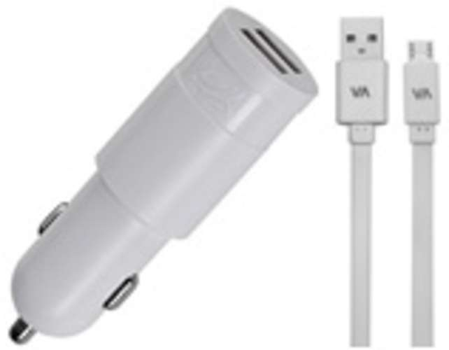 CHARGEUR VOITURE  2 X USB 3.4A BLANC + CORDON LIGHTNING MFI 0