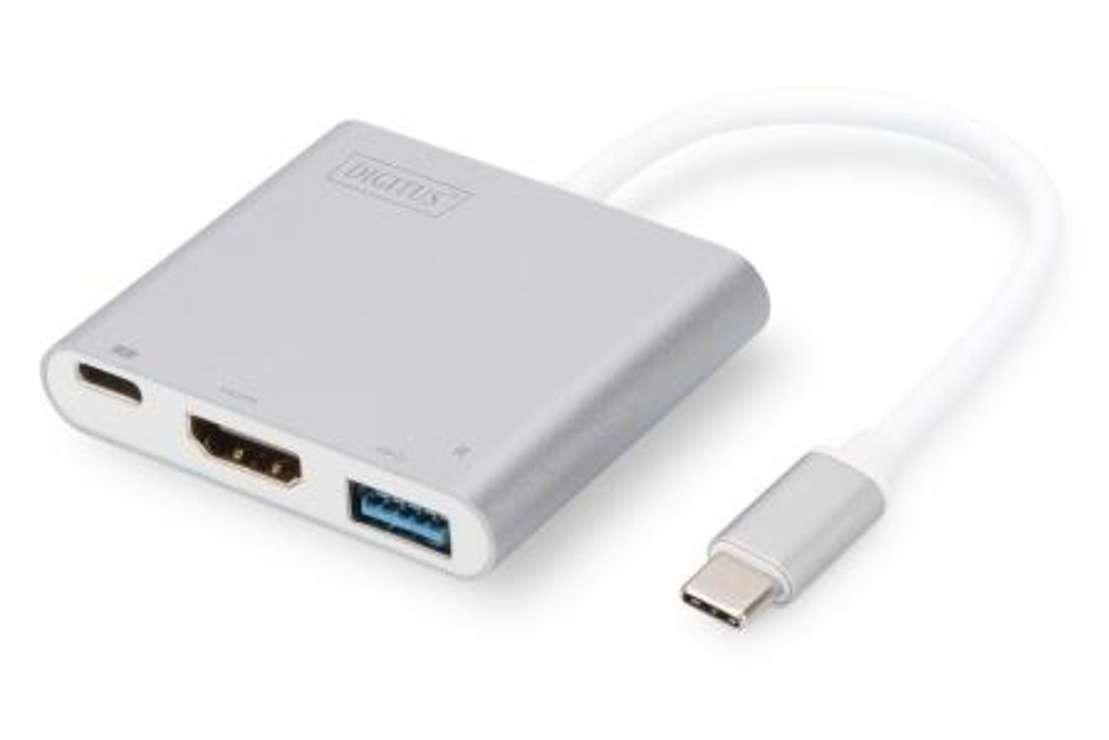 ADAPTATEUR MULTIPORT USB TYPE C + FONCTION CHARGE CORDON 20CM 0