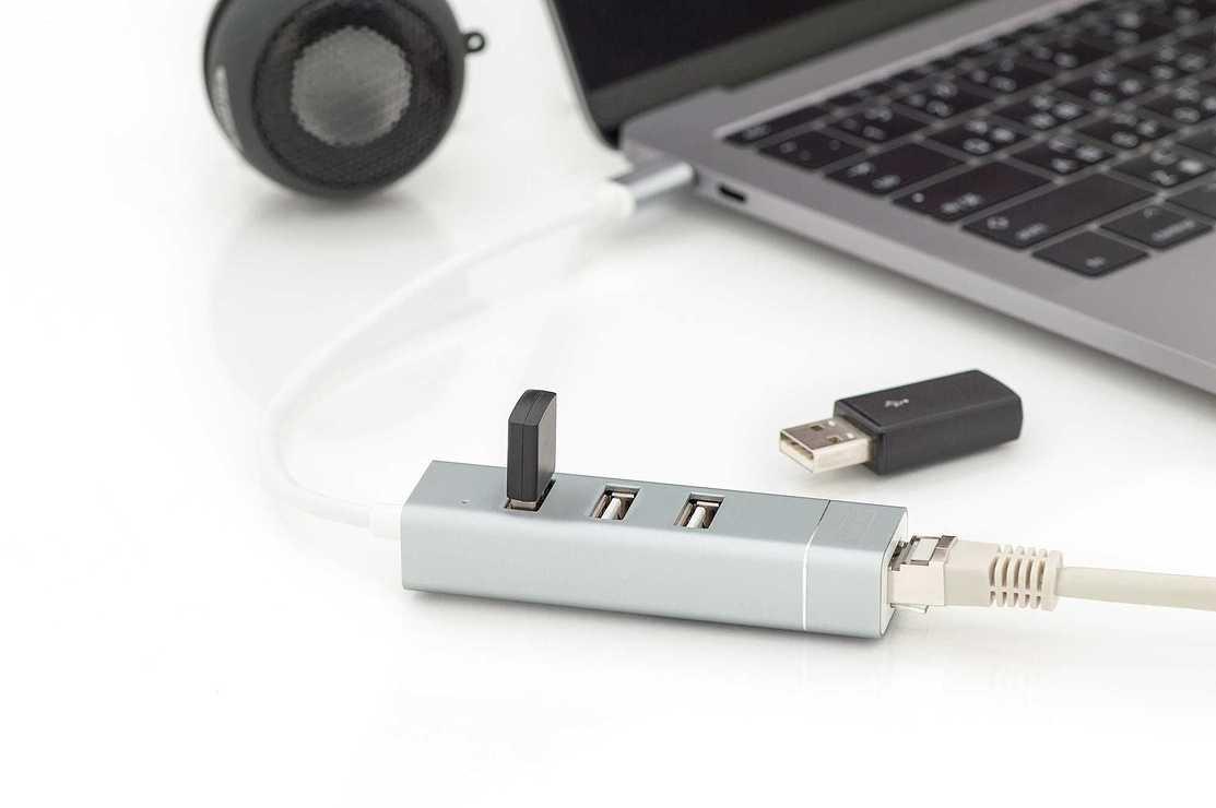 HUB 3 PORTS USB 2.0 SORTIE USB TYPE C + PORT RJ45 da702533