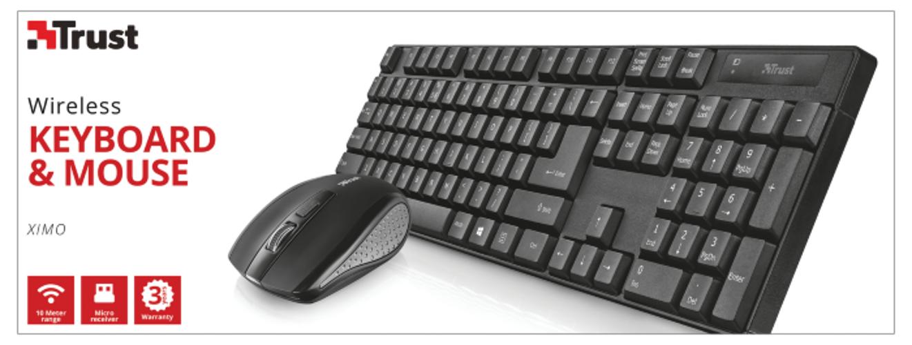 CLAVIER + SOURIS XIMO SANS FIL USB NOIR PC & MAC tr21136-4