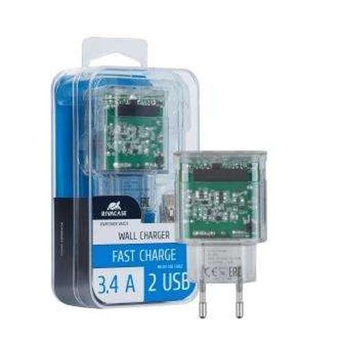 CHARGEUR SECTEUR 2 X USB 3.4A TRANSPARENT + CORDON MICRO USB va4123td1-2