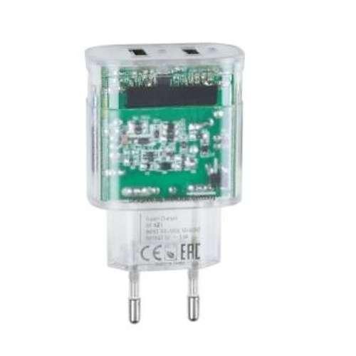 CHARGEUR SECTEUR 2 X USB 3.4A TRANSPARENT + CORDON MICRO USB 0