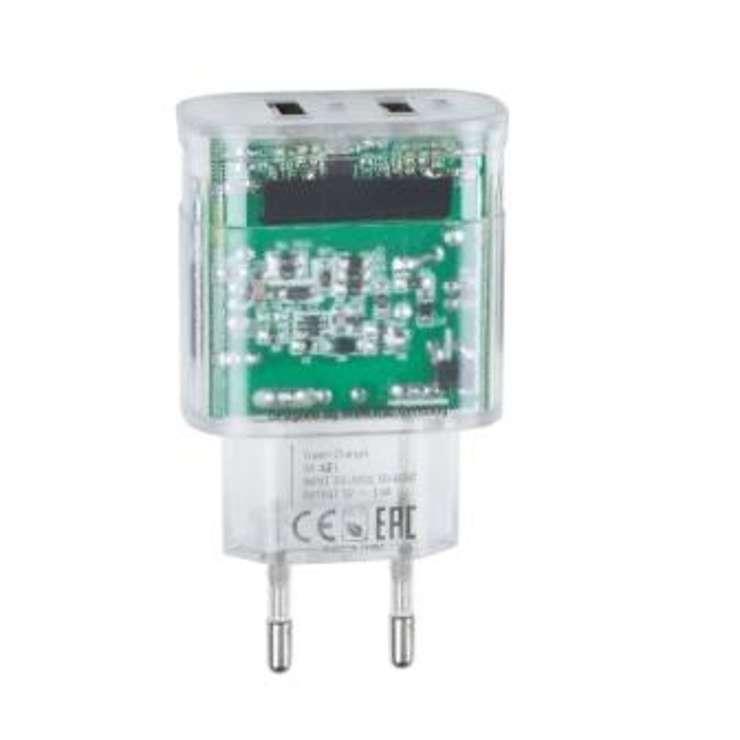 CHARGEUR SECTEUR 2 X USB 3.4A TRANSPARENT + CORDON LIGHTNING 0