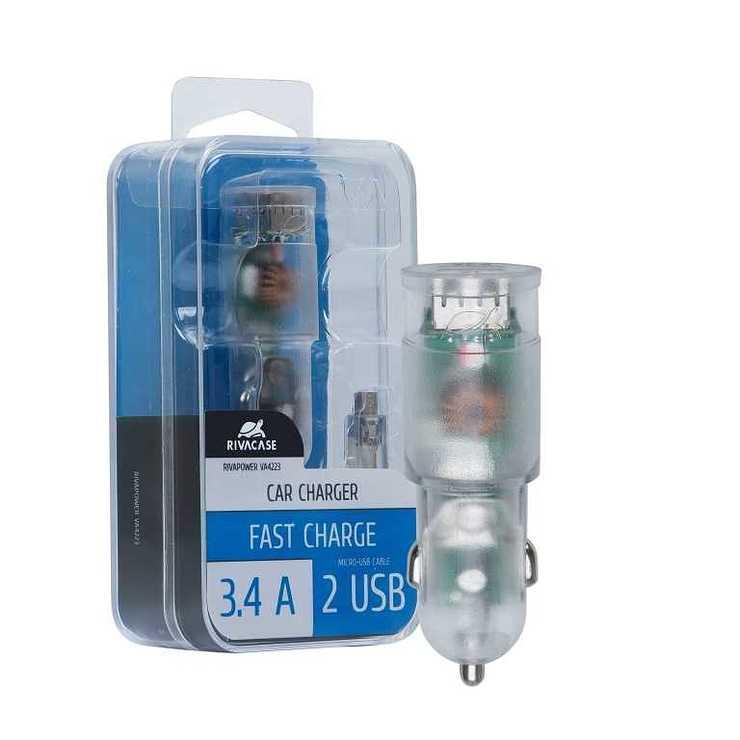CHARGEUR VOITURE 2 X USB 3.4A TRANSPARENT + CORDON MICRO USB va4223td12